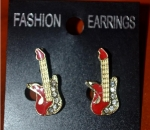 Vintage Guitar Earrings Studded With Stones